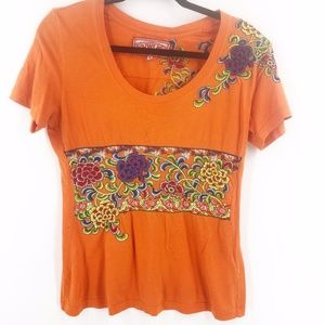 JWLA JOHNNY WAS V-neck w/floral embroidery XS